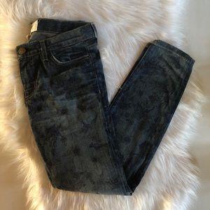 Current Elliot Stiletto Skinny Jeans Burnt Floral